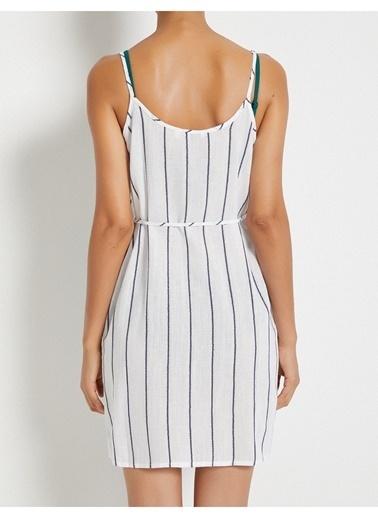 Koton İp Askılı Çizgili Anvelop Elbise İndigo
